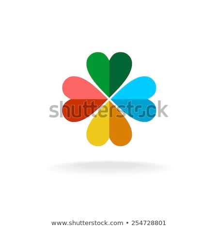 Red paper hearts in green clover Stock photo © stevanovicigor
