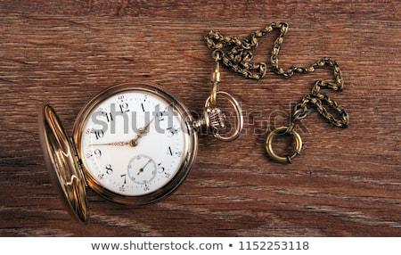 Foto stock: Velho · vintage · relógio · de · bolso · cara · fechar · ver