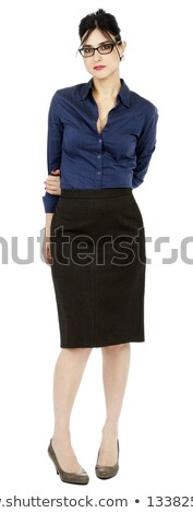 shy business woman in white shirt and black skirt stock photo © feelphotoart