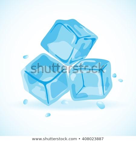 Foto stock: Cubo · de · hielo · reflexión · azul · beber · cóctel · frío
