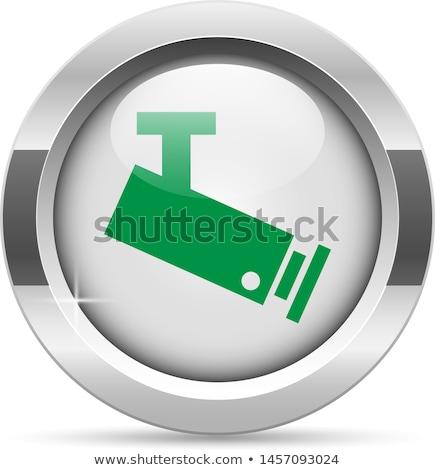 Cctv signo verde vector icono botón Foto stock © rizwanali3d