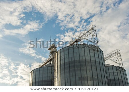 Grain Storage Bins Farm Food Silo Agricultural Property Stock photo © cboswell