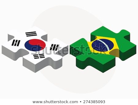 south korea and brazil flags in puzzle stock photo © istanbul2009