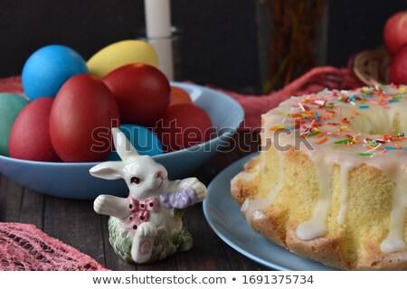 Foto stock: Páscoa · cartão · paisagem · bolo · decorado · ovos