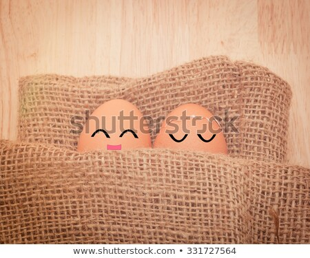 Eggs sleep on sackcloth Stock photo © eddows_arunothai
