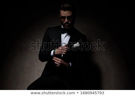 Serin moda güneş gözlüğü oturma sandalye Stok fotoğraf © feedough