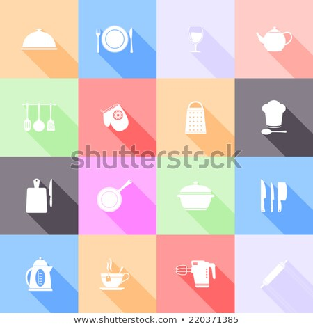 Stock photo: Vector graphic icon set of prepared food with long shadow