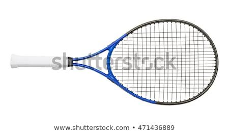Kék teniszütő izolált fehér tenisz játék Stock fotó © tetkoren