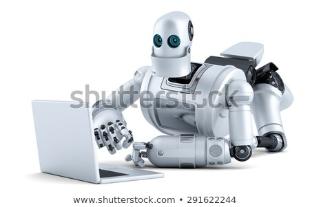 robot laying on floor with laptop isolated contains clipping path stock photo © kirill_m