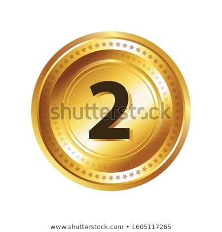 Numer wektora złota web icon przycisk Zdjęcia stock © rizwanali3d