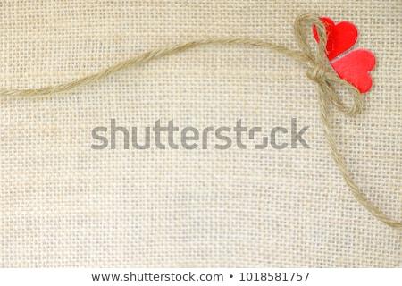 Granicy ramki czerwony serca worek płótnie Zdjęcia stock © tetkoren