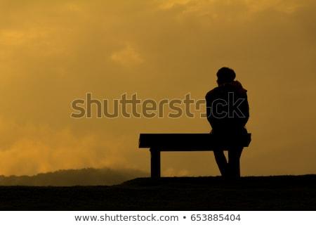 Sylwetki człowiek kobieta okulary morza wygaśnięcia Zdjęcia stock © Paha_L