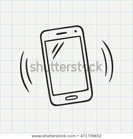 Doodle mobiele telefoon icon Blauw pen Stockfoto © pakete