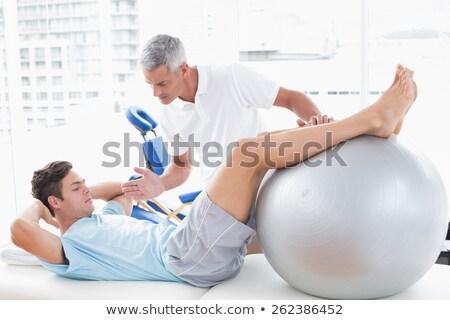 Terapeuta segít beteg testmozgás labda orvosi Stock fotó © wavebreak_media