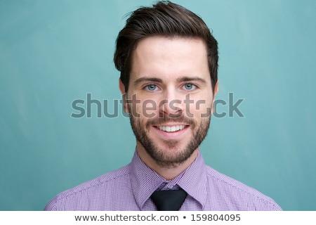 retrato · elegante · barbudo · homem - foto stock © deandrobot