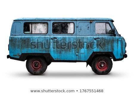 öreg · rozsdás · autó · piros · króm · festék - stock fotó © fotoquique