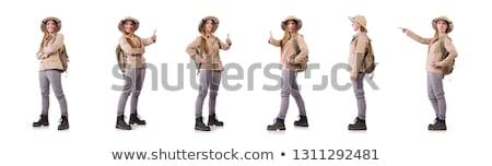 Foto stock: Woman Wearing Safari Hat On White