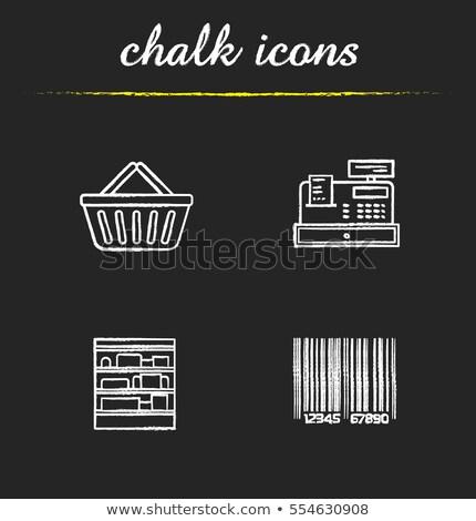 Stock photo: Cash register. Drawn in chalk icon.