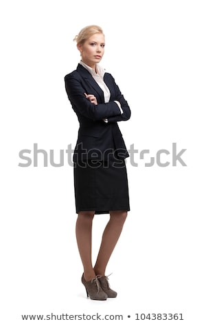 Pretty blond woman in black coat isolated on white Stock photo © Elnur