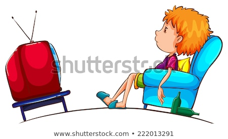 A plain sketch of a boy watching TV Stock photo © bluering