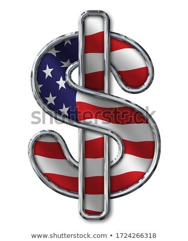 Amerikai zászló dollárjel pénzügy szimbólum dollár ikon Stock fotó © fenton