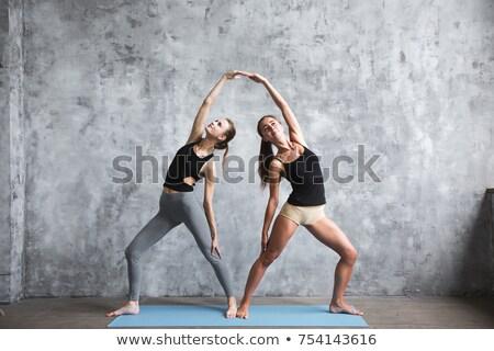 huzurlu · çift · yoga · stüdyo · birlikte · kadın - stok fotoğraf © deandrobot