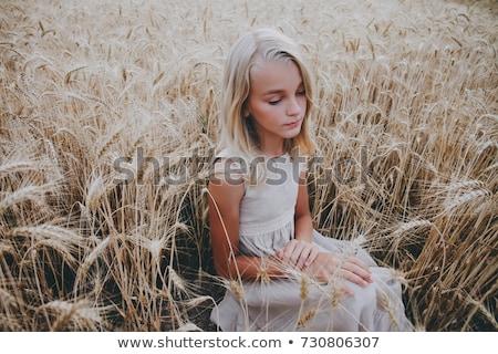 girl sits in rye field stock photo © bezikus