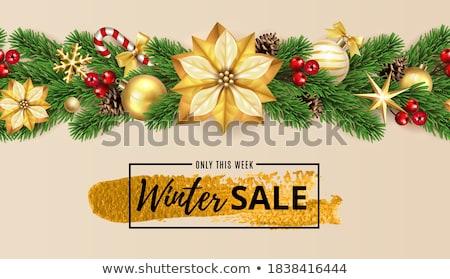 joyeux · Noël · nouvelle · année · or · fleur · couronne - photo stock © cienpies