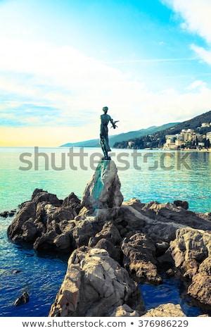 Tengeri kilátás Horvátország szobor nő tenger tengerpart Stock fotó © smuki