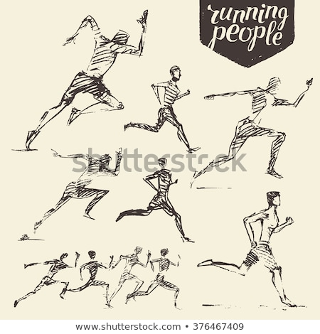 Doodle of man sprinting Stock photo © bluering
