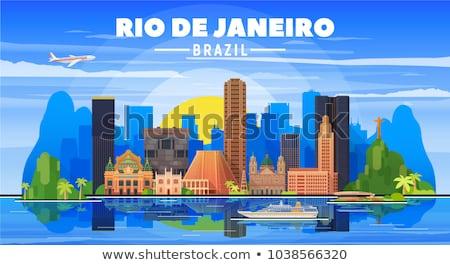Foto stock: Flat Silhouette Of Statue Of Christ In Rio De Janeiro