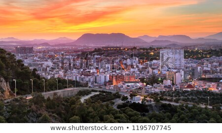 Night panorama city Alicante with castle Santa Barbara stock photo © sebikus