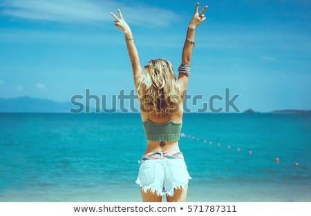 Schönen Badebekleidung stehen posiert blau Stock foto © deandrobot