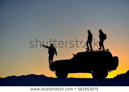 Dzsip illusztráció autó naplemente sziluett fotós Stock fotó © adrenalina