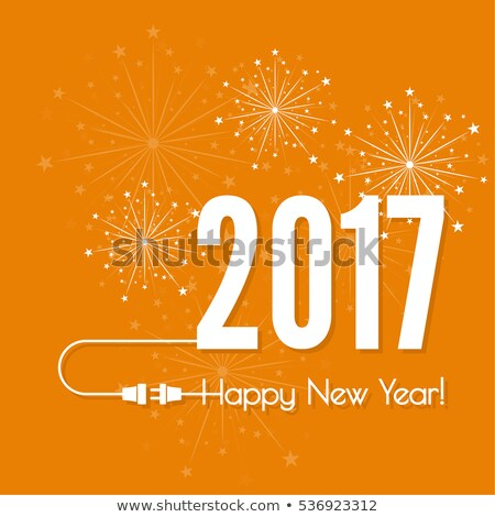 Stock photo: beautiful 2017 celebration greeting card design with fireworks