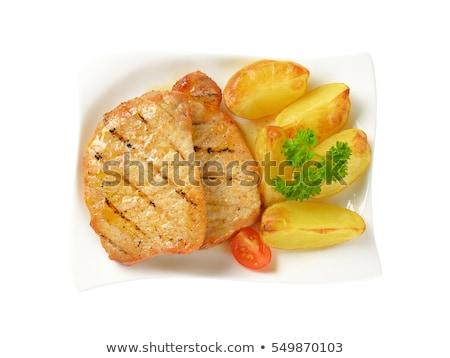 гриль · свинина · Салат · картофельный · салат · зеленый · красный - Сток-фото © digifoodstock