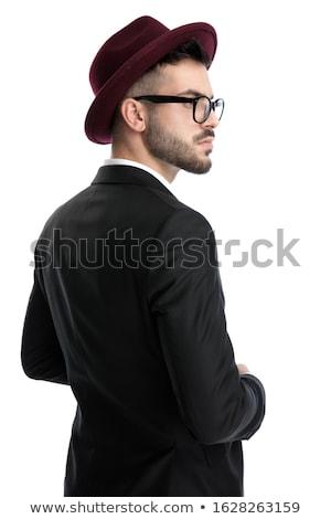 retrato · elegante · barbudo · homem · cadeira · cinza - foto stock © feedough