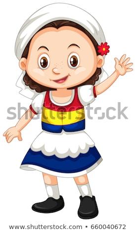 Fille Bonjour illustration heureux enfant Photo stock © bluering