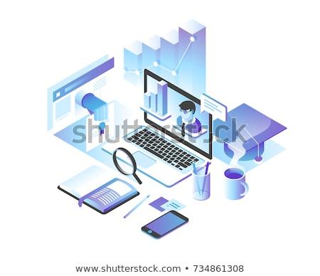 set of flat monitors in 3d vector illustration stock photo © kup1984