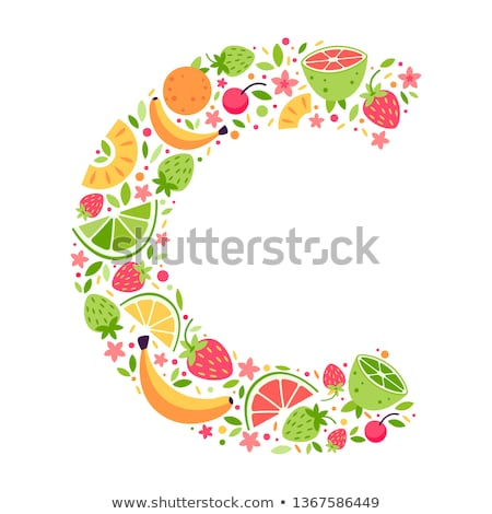 Letter C Strawberry font. Red Berry lettering alphabet. Fruits A Stock photo © popaukropa