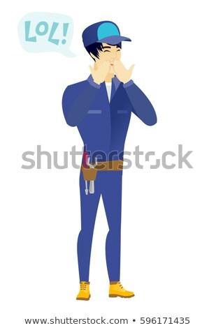 Jonge asian monteur lachend uit luid Stockfoto © RAStudio
