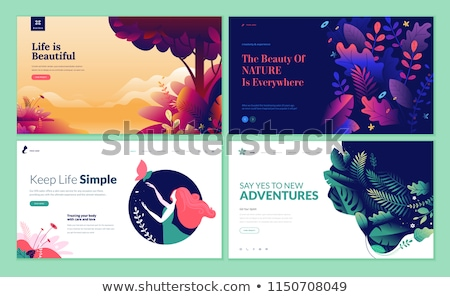 Flower nature abstract logo template. Health and SPA abstract icon, badge. Unusual design in 4 color Stock photo © JeksonGraphics