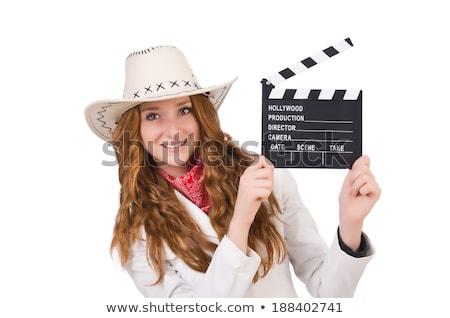 mulher · filme · isolado · branco · menina · mão - foto stock © elnur