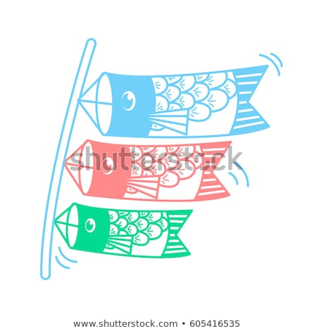 silhouette icon of kites in the form of fish stock photo © olena