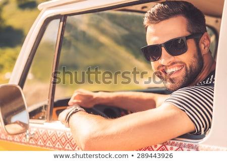 man in retro minivan Stock photo © LightFieldStudios