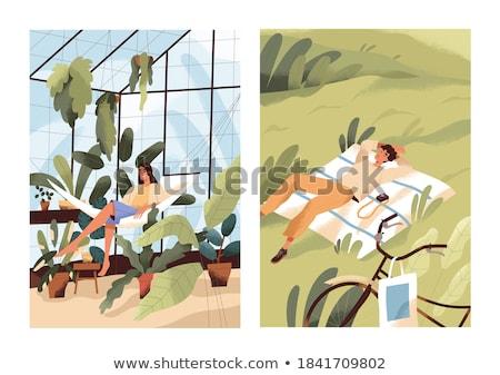 Man ontspannen broeikas tuin vrede tuinieren Stockfoto © IS2