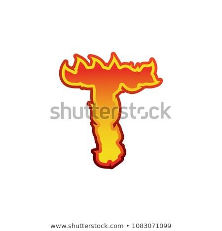 T betű tűz lángok betűtípus tetoválás ábécé Stock fotó © popaukropa