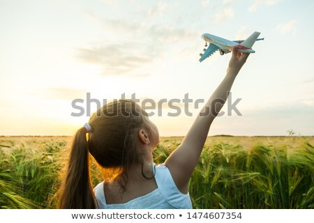 Arms holding paper green plane Stock photo © IS2