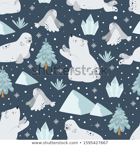 Rozmár jegesmedve végtelen minta északi állatok jéghegy Stock fotó © popaukropa