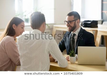 Bankár fiatal nő nő pénz üzletember öltöny Stock fotó © IS2
